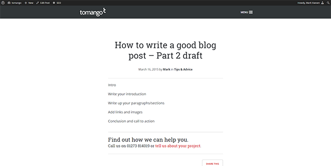 Start by writing down the key headings of your blog post.