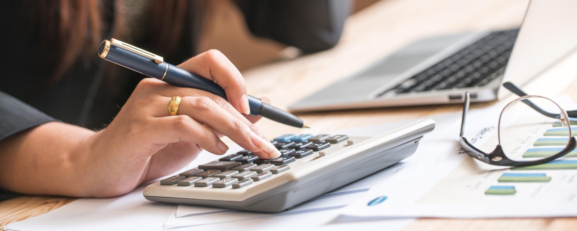 calculator showing marketing budget assessment